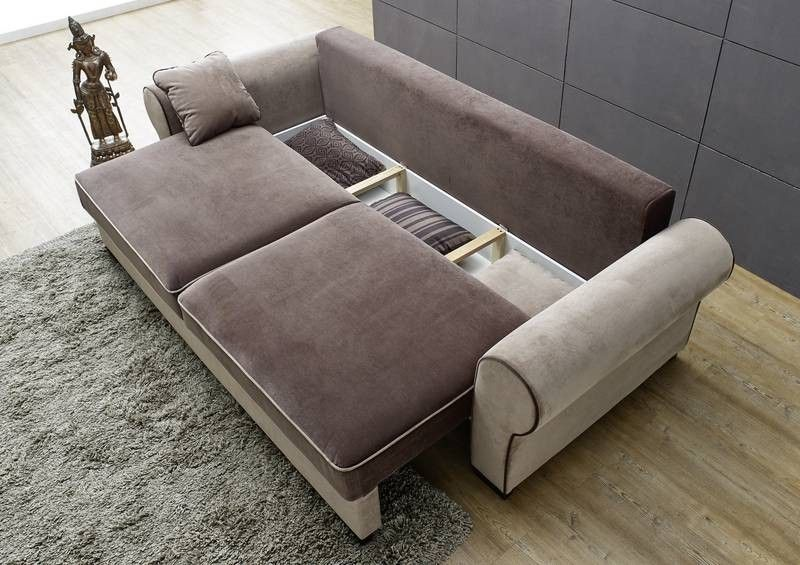 sofa deluxe comfort mit schlaffunktion u bettkasten braun. Black Bedroom Furniture Sets. Home Design Ideas