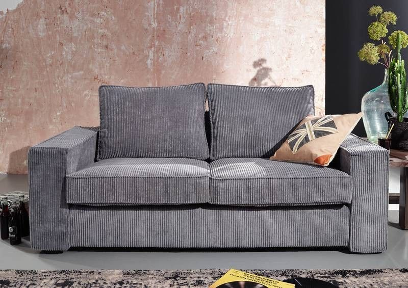 sofa koko 3 3 sitzer grau cordsofa ebay. Black Bedroom Furniture Sets. Home Design Ideas