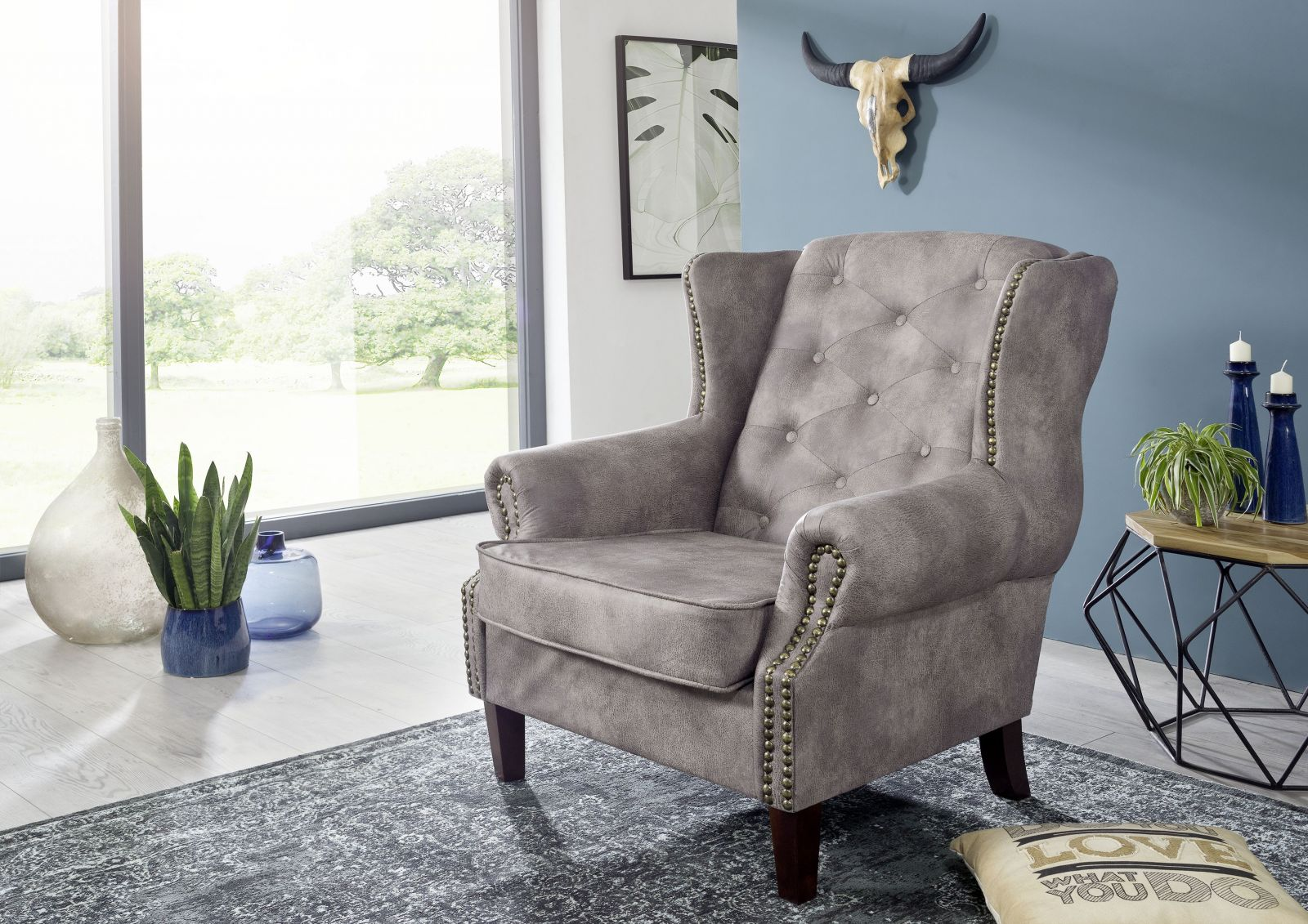 Sessel Chesterfield 102x93x102 silber OXFORD