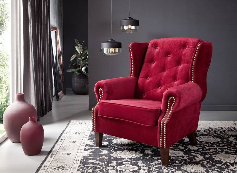 OXFORD Sessel Chesterfield rot