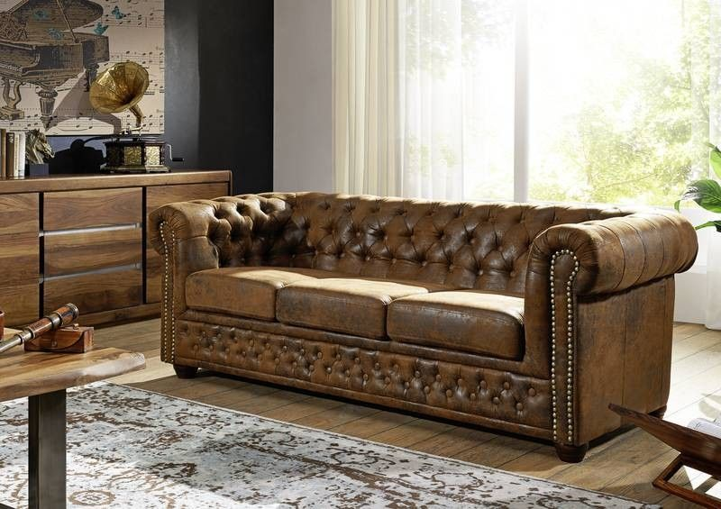 oxford chesterfield sofa couch sofagarnitur couchgarnitur vintage antik look ebay. Black Bedroom Furniture Sets. Home Design Ideas