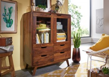 Highboard Sheesham 90x40x110 walnuss lackiert MALMÖ 2 #113