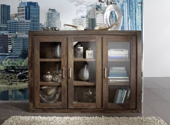 Highboard Sheesham 150x40x110 grau lackiert METRO POLIS #114