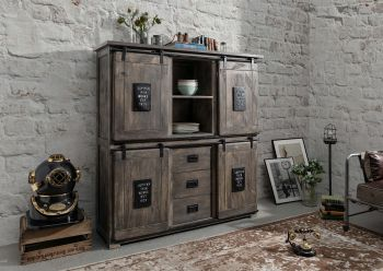 Highboard Mango 150x45x160 grau lackiert RAILWAY #225
