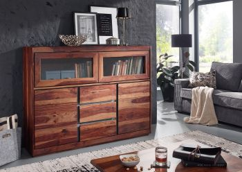 Highboard Sheesham 150x40x115 noble unique lackiert SYDNEY #103
