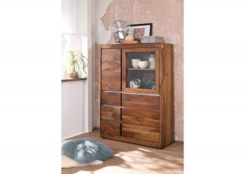 Highboard Sheesham 102x40x147 noble unique lackiert SYDNEY #125