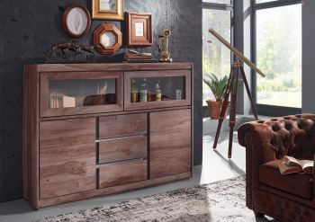 Highboard Sheesham 150x40x115 smoked oak lackiert SYDNEY #203