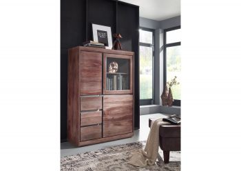 Highboard Sheesham 102x40x147 smoked oak lackiert SYDNEY #225