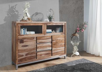 Highboard Sheesham / Akazie 150x40x119 gebeizt LE HAVRE #07