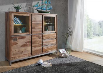 Highboard Sheesham / Akazie 166x40x148 gebeizt LE HAVRE #08