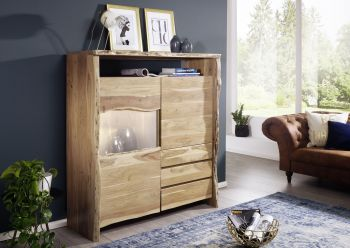 Highboard Akazie 131x45x147 natur lackiert  LIVE EDGE #703