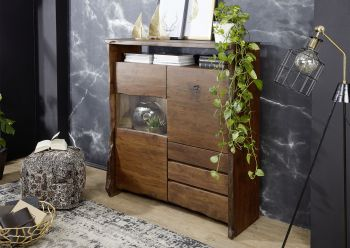 Highboard Akazie 131x45x147 braun lackiert LIVE EDGE #803