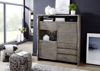 Highboard Akazie 131x45x147 grau lackiert  LIVE EDGE #903