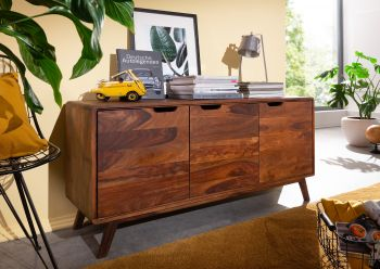 Sideboard Sheesham 134x40x65 walnuss lackiert MALMÖ 2 #106