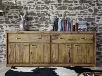 Sideboard Sheesham 205x47x82  braun geölt NATURE BROWN #852