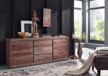 Sideboard Sheesham 187x46x77 smoked oak lackiert SYDNEY #207