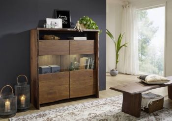 Highboard Akazie 131x45x147 braun lackiert LIVE EDGE #205