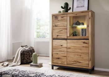 Highboard Wildeiche 103x40x148 natur geölt VILLANDERS #105