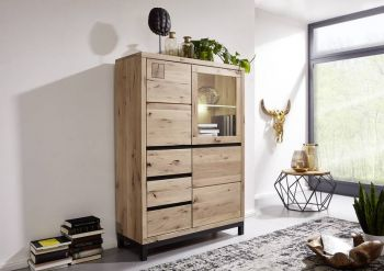 Highboard Wildeiche 103x40x148 bianco geölt VILLANDERS #206