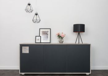 Sideboard Wildeiche 180x42x78 ice grey lackiert HELSINKI #203