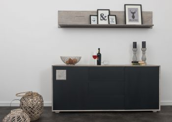 Sideboard Wildeiche 180x42x78 ice grey lackiert HELSINKI #205