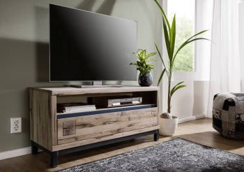 TV-Board Wildeiche 120x40x56 bianco geölt VILLANDERS #212