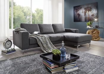 Ecksofa 235x150x90 grau LONDON