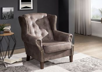 Sessel Chesterfield 102x93x102 dunkelbraun OXFORD