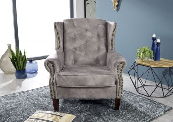 Sessel Chesterfield 102x93x102 silver OXFORD