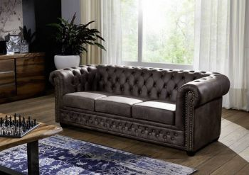 Sofa Chesterfield 203x86x72 dunkelbraun OXFORD