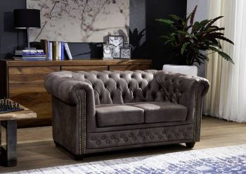 Sofa Chesterfield 148x86x72 dunkelbraun OXFORD