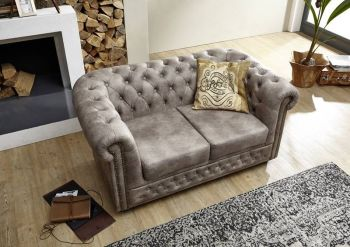 Sofa Chesterfield 148x86x72 silber OXFORD