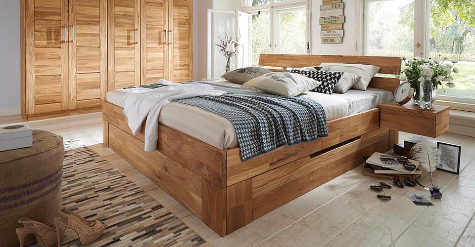 konstanz bett mit schubk sten 800 140x200 wildeiche massiv. Black Bedroom Furniture Sets. Home Design Ideas