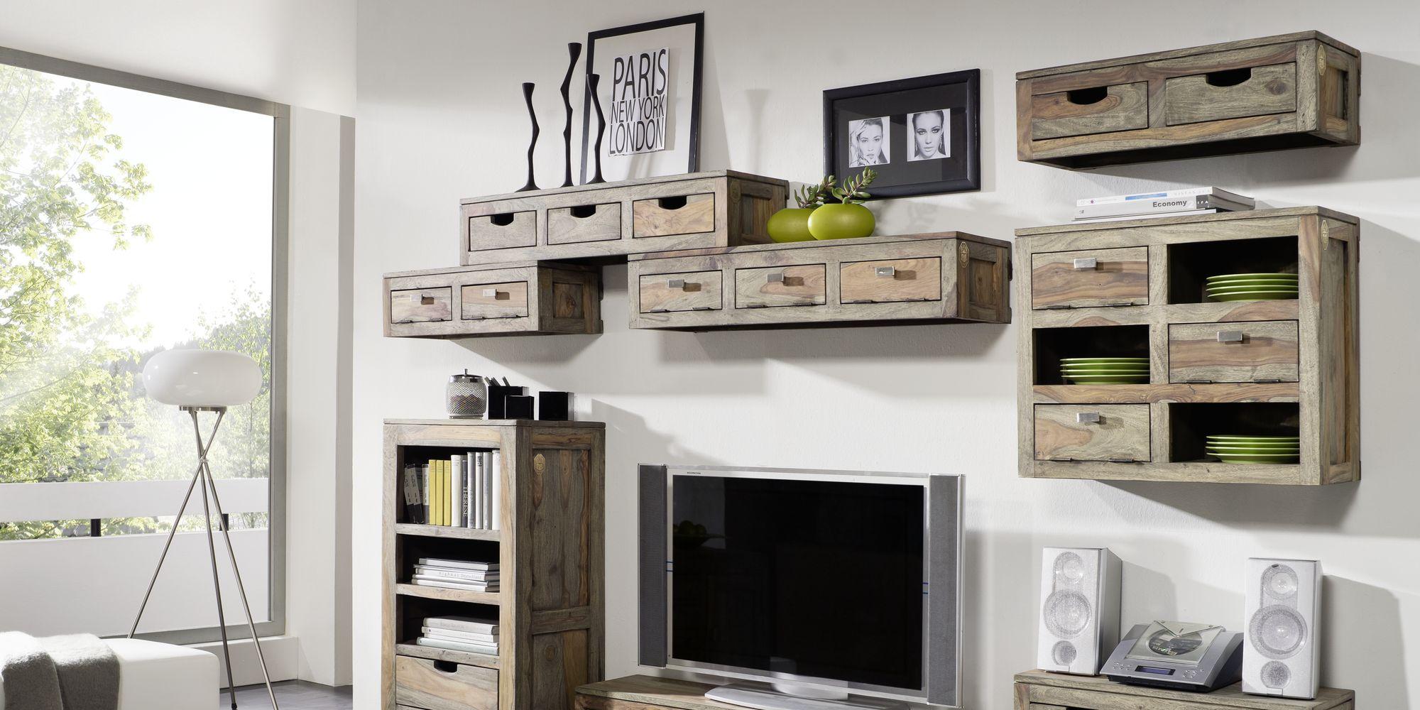 Möbelserie Klassische Sheesham Möbel Grau Geölt Nature Grey